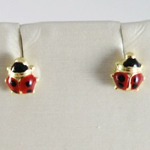 18K YELLOW GOLD EARRINGS MINI 5MM GLAZED LADYBIRD LADYBUG FOR KIDS MADE IN ITALY image 1