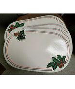 "Four (4) NIKKO China - HOLLY & PINECONE Pattern - 17"" VINYL PLACE MATS - $49.95"