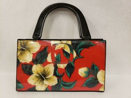 Vintage Angela Frascone Resin White Cream and Red Floral Hibiscus Handba... - $49.49