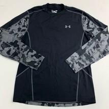Under Armour Cold Gear T Shirt Mens LG Black Camo Crew Neck Long Sleeve ... - $17.99
