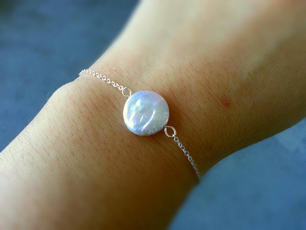 White Coin Pearl Bracelet Freshwater Coin Pearl Bracelet Bridesmaid Bracelet