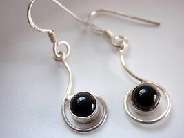 BLACK ONYX Sphere on Curved Stem 925 Silver Earrings - $14.80