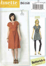 Dress and Tunic Misses Size 14-22 Butterick 6168 Sewing Pattern - $7.99