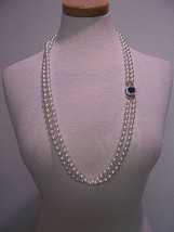 Vintage Necklace Matinee Length Faux Pearl 2 Rows Faux Sapphire Clasp Golden Set - $50.00