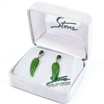 Storrs Hand Carved Genuine Jade Veritable Feather Earrings image 3