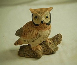 Vintage Ceramic Owl on Log Bird Figurine Curio Cabinet Shelf Decor a - $16.82