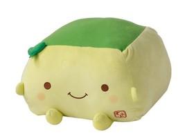 Cushion Tofu Hannari Matcha Green Tea Stuffed Toy Cushion Size L Japan Gift - $64.50