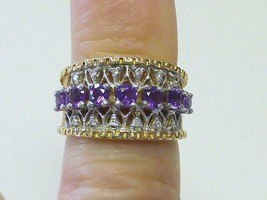 Vintage Signed FC 7 Amethyst & Diamond Filigree 14k Yellow Gold Ring Siz... - €318,73 EUR