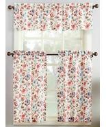"3pc. Printed Curtains Set:2 Tiers(27"")& Valance (54""x36"") FLOWERS 918,DE... - $23.75"