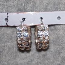 Pave' Set Rhinestone Bridal Hoop Pierced Earrings - $28.00
