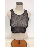 NEW NWT Millau LF Stores Designer Sheer Black Beaded Tank Top $126 retail - $17.50