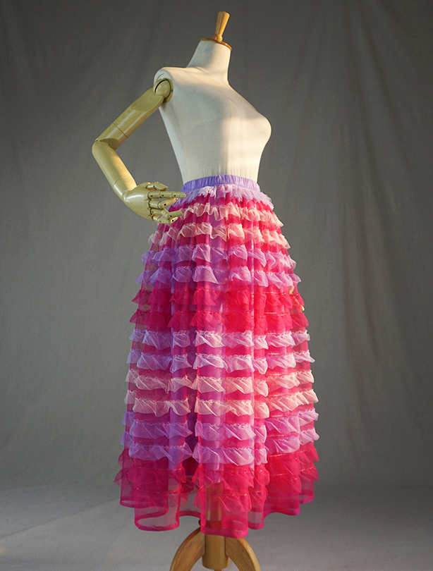 Pink multicolor tulle skirt 3