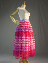 Adult Tiered Midi Tulle Skirts Pink Red Purple Tiered Tulle Party Skirt US0-US28 image 4