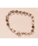 Sterling Silver 925 Closed Heart Link Bracelet Made In Italy - $32.67