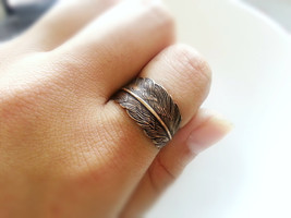 Antique Brass Feather Ring Adjustable Feather Wrap Ring Woodland Ring - $26.00