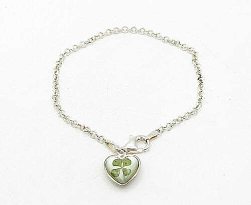 925 Silver - Vintage Cubic Zirconia Pressed Clover Heart Chain Bracelet - B5280