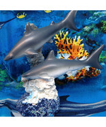 SHARK DUO FIGURINE Ocean Sea Coral Miniature Fairy Garden Diorama Garden... - $3.83