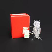 OWL | Clear Hand Blown Spun SPAGHETTI GLASS Bird | Vintage Mid Century |... - $9.85