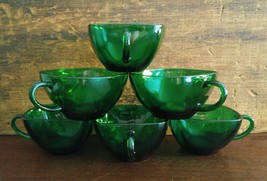 Fire-King Anchor Hocking Forest Green Charm Cup... - $30.00