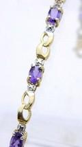 """Dainty 10k Yellow Gold Purple Amethyst Tennis Bracelet 6.75"""" 4 grams Vin... - $198.00"""