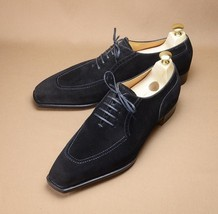 Handmade Men's Black Suede Lace up Dress/Formal Oxford Shoes image 1