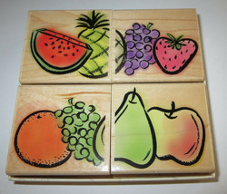 Fruit Mosaics Rubber Stamp New Set of 4 Watermelon Grapes Strawberry Pin... - $15.51