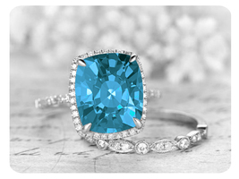 9mm Cushion Cut Swiss Blue Topaz 14k White Gold Over Wedding Bridal Ring Set - $119.99