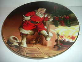 Edwin Knowles Santa By The Fire Haddon Sundblom plate first issue 1989 - $16.99