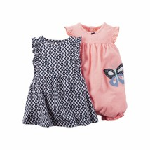 Baby Girls Carter's  2 - Piece Striped Romper and Floral Dress set 12 meses - $19.99