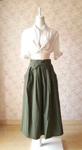 Women Army Green Linen Cotton Skirt Loose Linen Clothes Long Asymmetrical Skirts image 1