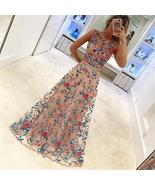 Popular Charming Gorgeous Sleeveless Floral Embroidery Evening Long Prom... - $48.00