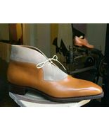 New Handmade Men Two Tone Ankle High Original Leather & Suede Formal Boots - $179.97+