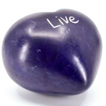 """Vaneal Group Hand Carved Soapstone 2-Sided Purple """"Live"""" Heart Paperweight image 5"""