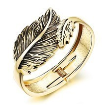 Stainless Steel Leaf Bracelet Open C Style Bangle IP Plating Golden/Silvery - $18.99