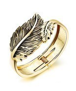 Stainless Steel Leaf Bracelet Open C Style Bangle IP Plating Golden/Silvery - $25.04 CAD