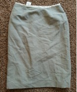 Vtg Valentino Miss V Italy Cotton Gray White Silk Trim Pencil Skirt 6 - $75.99