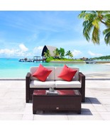 2 PC Rattan Loveseat Table Wicker Furniture Garden Sofa Sectional Cocoa ... - $199.99