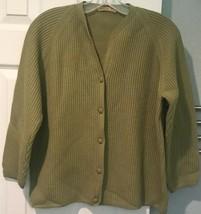 Vintage Gina Torino MTA Green Wool Cardigan Sweater Womens XL Textured I... - $37.39