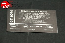 65 Corvette Fuel Injection Air Cleaner Service Instructions Decal GM # 6418094 - $15.75