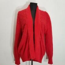 Vintage Nina Austin Oversized Cardigan Sweater Size S Angora Fuzzy Red E... - $48.37