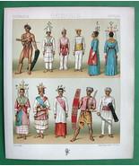MALAYSIA Indonesia Natives Costume Fashion - COLOR Litho Print by A. Rac... - $12.60
