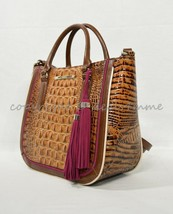 NWT Brahmin Small Lena Leather Satchel/Shoulder Bag in Toasted Almond Hayes - $279.00