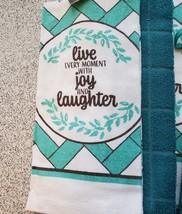 Kitchen Set 11pc Towels Dishcloths Mitts Placemats, Live Joy Laughter, Turquoise image 3