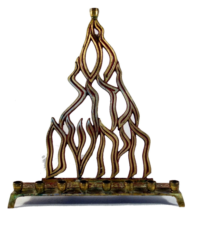 Judaica Menorah Hanukkah Vintage Israel Flame Nes Gadol Bronze Red Signed KL