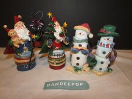 4 Piece Santa & Snowman Christmas Holiday Figurines - $16.82