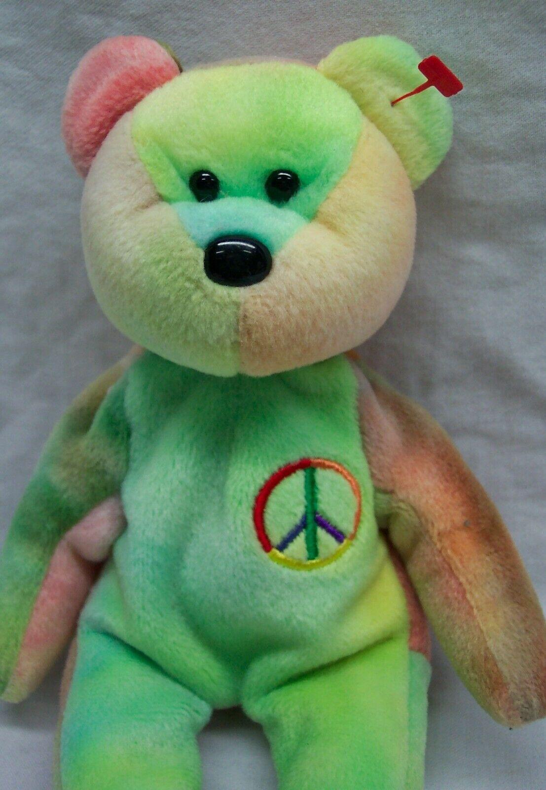 """TY Beanie Baby PEACE THE TIE-DYED TEDDY BEAR 8"""" Bean Bag Stuffed Animal Toy 1996"""