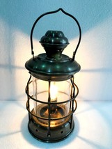Electric Vintage Stable Antique Brass Lantern Lamp Wall Hanging Home Decor - £47.97 GBP