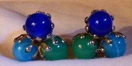 "Vintage 1950s 3 3/8"" Ball Earrings Clip On Purple Aquablue Slag & Green ... - $10.00"