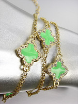 NEW 18kt Gold Plated Chains Green Enamel Clover Clovers CZ Crystals Brac... - $19.99