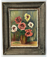 """Original Oil Painting Signed Camille Washburn POPPIES Framed 16"""" X 13"""" Boho - $68.26"""